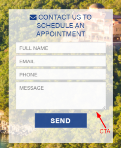 Contact Form on Landing Page Screenshot